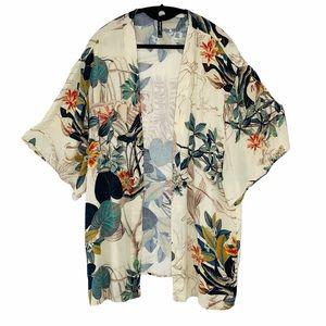 Leshop tropical print open front kimono cardigan